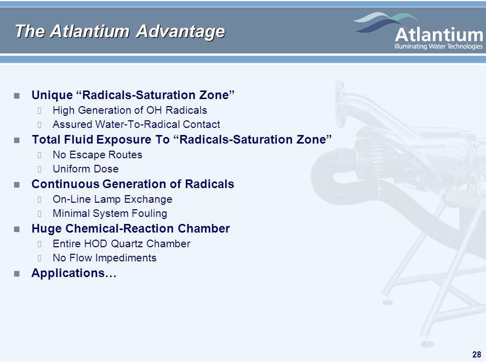 28 The Atlantium Advantage n Unique Radicals-Saturation Zone High Generation of OH Radicals Assured Water-To-Radical Contact n Total Fluid Exposure To Radicals-Saturation Zone No Escape Routes Uniform Dose n Continuous Generation of Radicals On-Line Lamp Exchange Minimal System Fouling n Huge Chemical-Reaction Chamber Entire HOD Quartz Chamber No Flow Impediments n Applications…