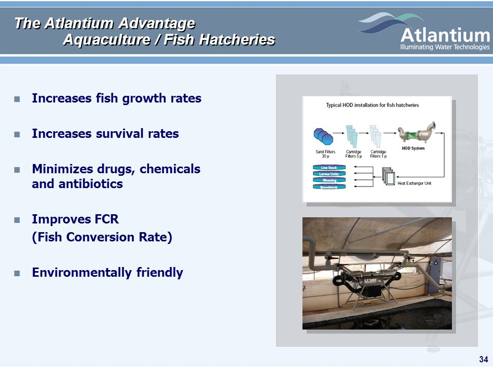 34 The Atlantium Advantage Aquaculture / Fish Hatcheries n Increases fish growth rates n Increases survival rates n Minimizes drugs, chemicals and antibiotics n Improves FCR (Fish Conversion Rate) n Environmentally friendly