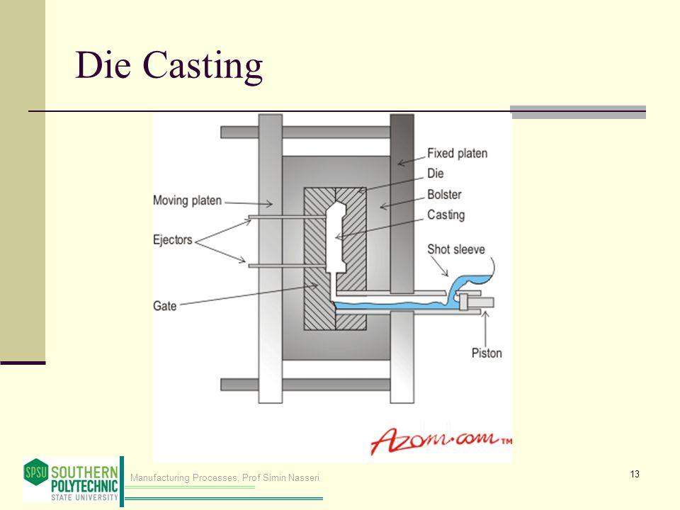 Manufacturing Processes, Prof Simin Nasseri Die Casting 13