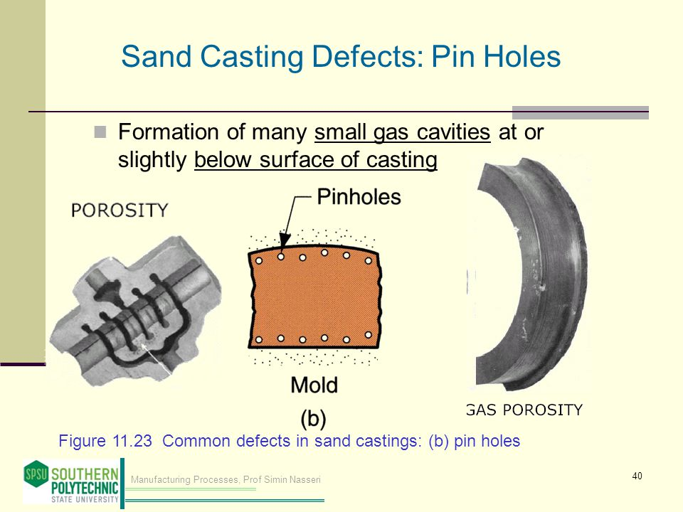 Manufacturing Processes, Prof Simin Nasseri Formation of many small gas cavities at or slightly below surface of casting Figure 11.23 Common defects in sand castings: (b) pin holes Sand Casting Defects: Pin Holes 40