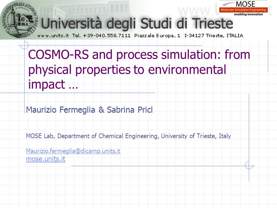 COSMO-RS and process simulation: from physical properties to environmental impact … Maurizio Fermeglia & Sabrina Pricl MOSE Lab, Department of Chemica
