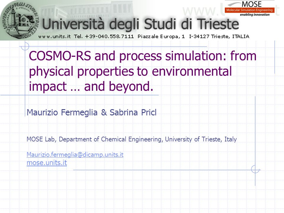 COSMO-RS and process simulation: from physical properties to environmental impact … and beyond. Maurizio Fermeglia & Sabrina Pricl MOSE Lab, Departmen