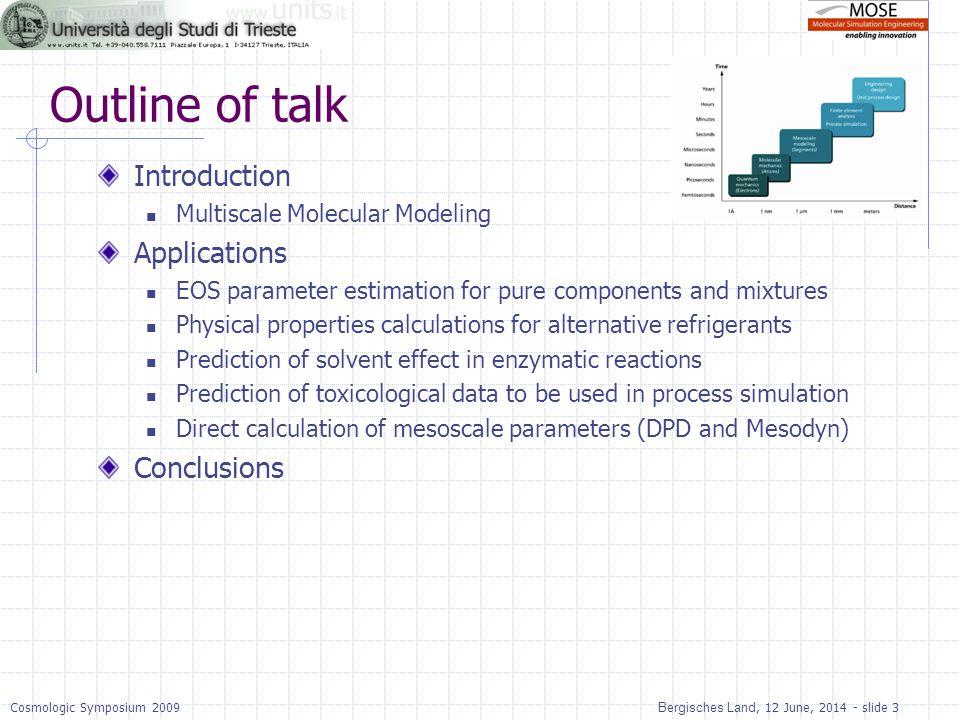 Bergisches Land, 12 June, 2014 - slide 3Cosmologic Symposium 2009 Outline of talk Introduction Multiscale Molecular Modeling Applications EOS paramete