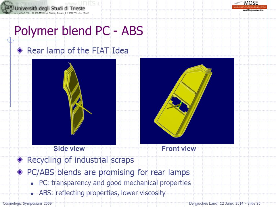 Bergisches Land, 12 June, 2014 - slide 30Cosmologic Symposium 2009 Polymer blend PC - ABS Rear lamp of the FIAT Idea Recycling of industrial scraps PC