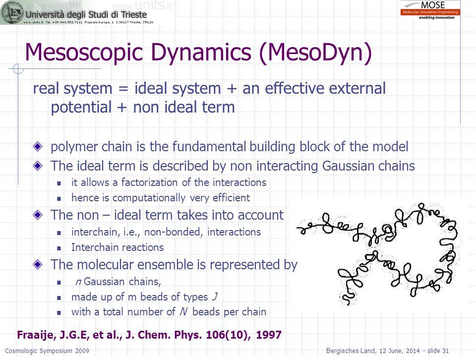 Bergisches Land, 12 June, 2014 - slide 31Cosmologic Symposium 2009 Mesoscopic Dynamics (MesoDyn) real system = ideal system + an effective external po