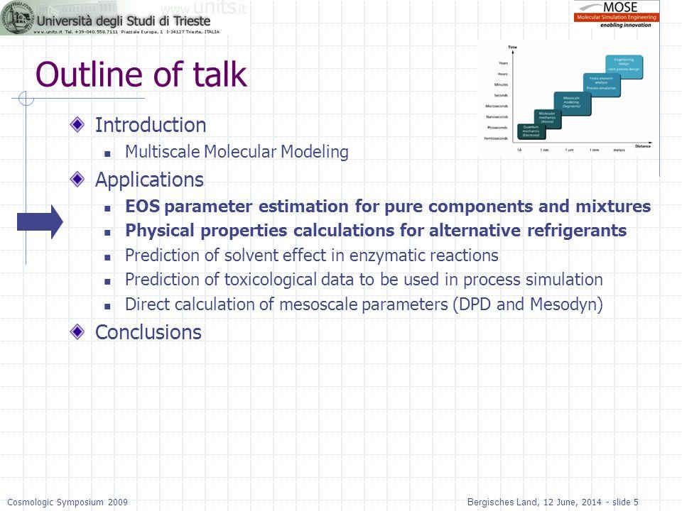 Bergisches Land, 12 June, 2014 - slide 5Cosmologic Symposium 2009 Outline of talk Introduction Multiscale Molecular Modeling Applications EOS paramete