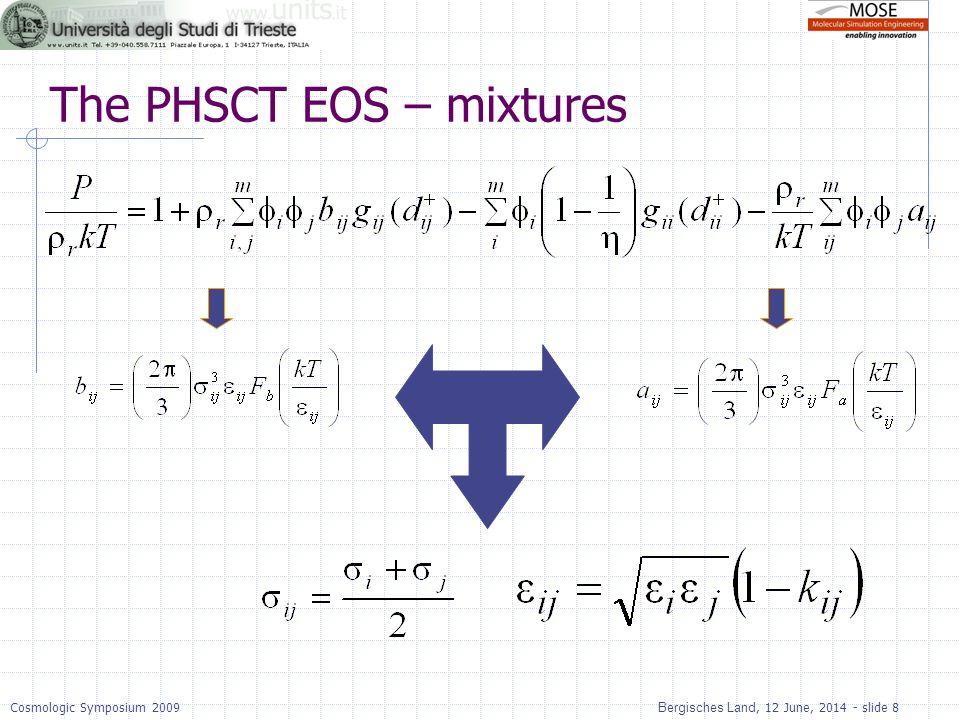 Bergisches Land, 12 June, 2014 - slide 8Cosmologic Symposium 2009 The PHSCT EOS – mixtures