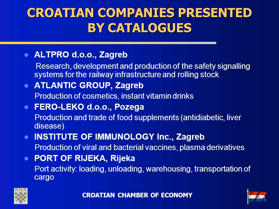 CROATIAN CHAMBER OF ECONOMY CROATIAN COMPANIES PRESENTED BY CATALOGUES ALTPRO d.o.o., Zagreb Research, development and production of the safety signal