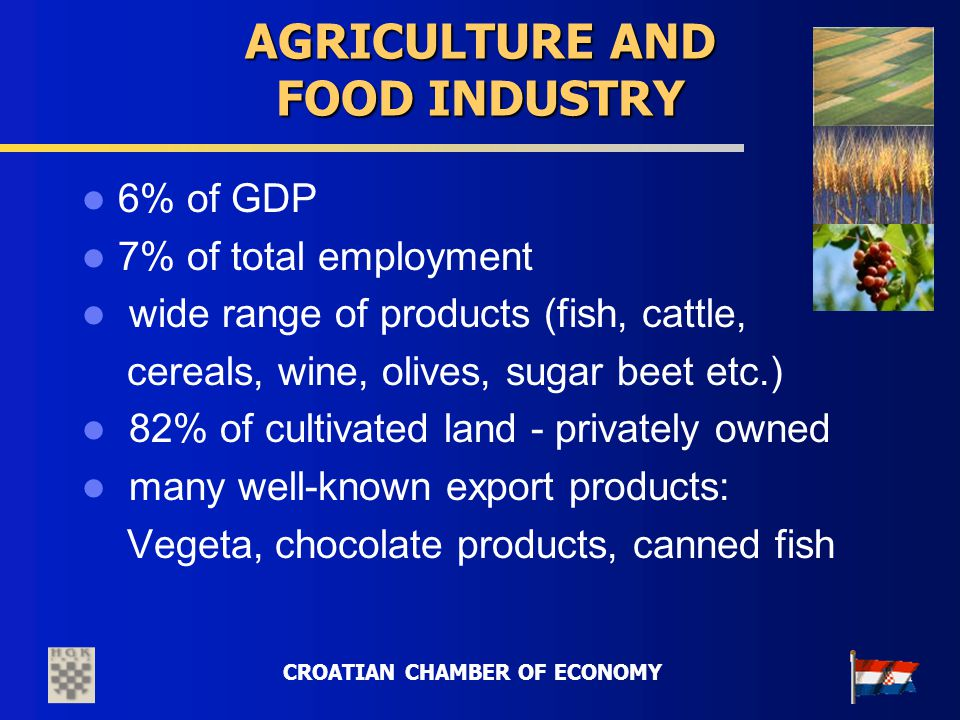CROATIAN CHAMBER OF ECONOMY AGRICULTURE AND FOOD INDUSTRY 6% of GDP 7% of total employment wide range of products (fish, cattle, cereals, wine, olives