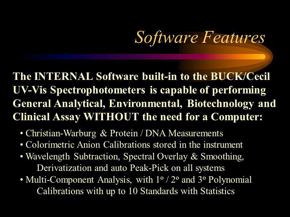 Software Features The INTERNAL Software built-in to the BUCK/Cecil UV-Vis Spectrophotometers is capable of performing General Analytical, Environmental, Biotechnology and Clinical Assay WITHOUT the need for a Computer: Christian-Warburg & Protein / DNA Measurements Colorimetric Anion Calibrations stored in the instrument Wavelength Subtraction, Spectral Overlay & Smoothing, Derivatization and auto Peak-Pick on all systems Multi-Component Analysis, with 1 o / 2 o and 3 o Polynomial Calibrations with up to 10 Standards with Statistics