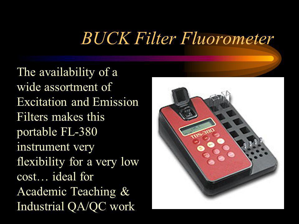 BUCK Filter Fluorometer The availability of a wide assortment of Excitation and Emission Filters makes this portable FL-380 instrument very flexibility for a very low cost… ideal for Academic Teaching & Industrial QA/QC work