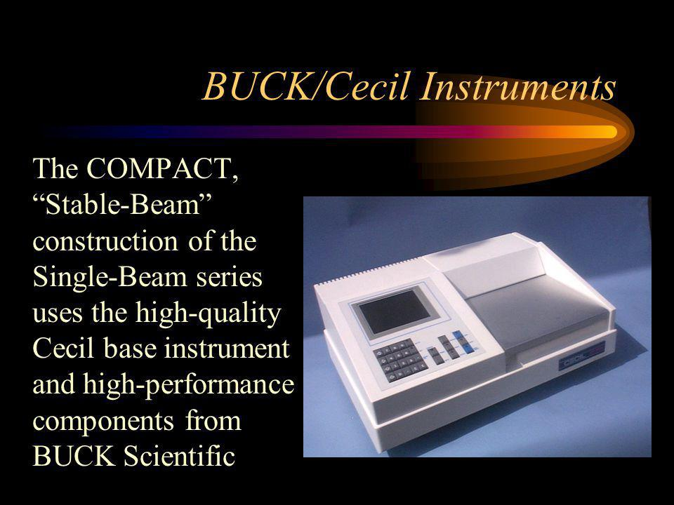BUCK/Cecil Instruments The COMPACT, Stable-Beam construction of the Single-Beam series uses the high-quality Cecil base instrument and high-performance components from BUCK Scientific