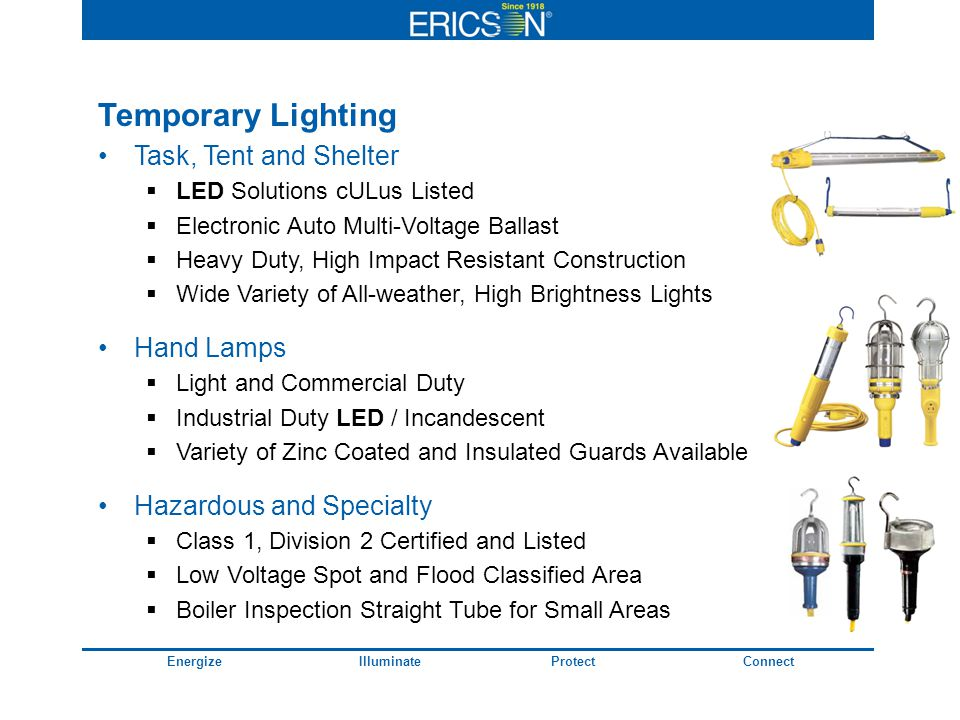 EnergizeIlluminateProtectConnect Temporary Lighting Task, Tent and Shelter LED Solutions cULus Listed Electronic Auto Multi-Voltage Ballast Heavy Duty