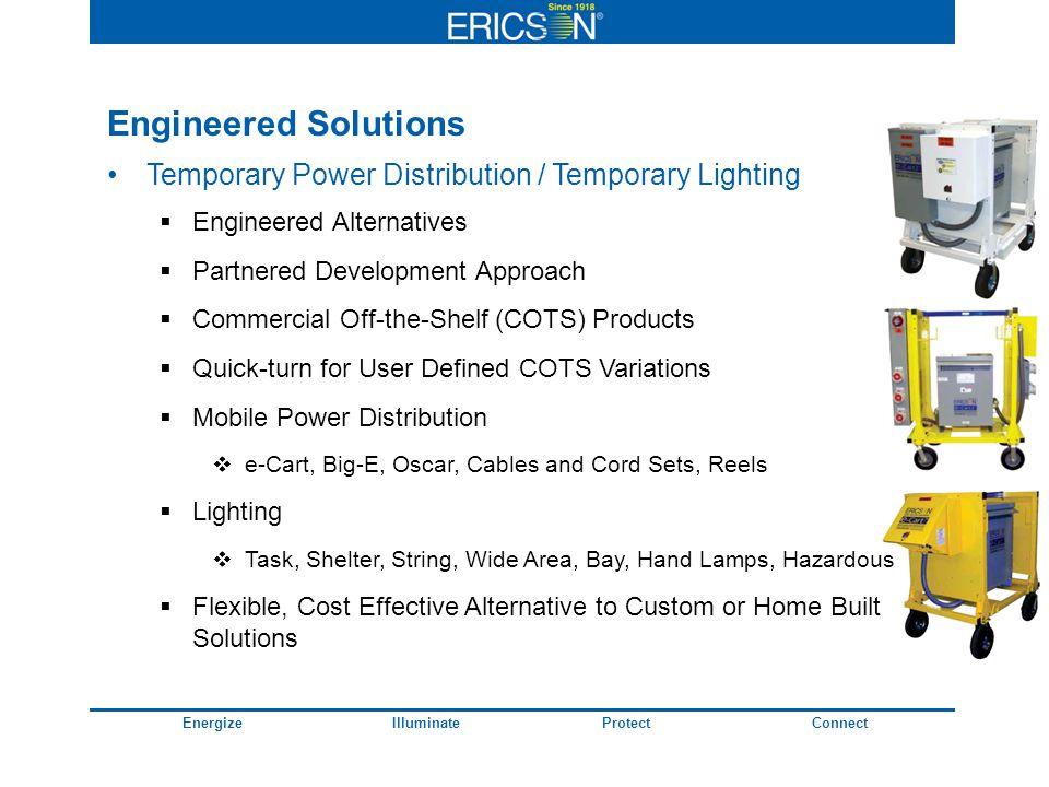 EnergizeIlluminateProtectConnect Engineered Solutions Temporary Power Distribution / Temporary Lighting Engineered Alternatives Partnered Development