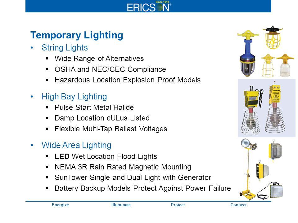 EnergizeIlluminateProtectConnect Temporary Lighting String Lights Wide Range of Alternatives OSHA and NEC/CEC Compliance Hazardous Location Explosion