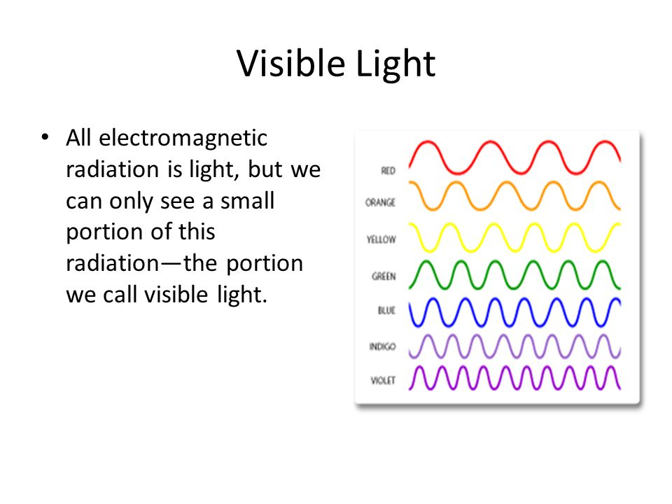 Visible Light All electromagnetic radiation is light, but we can only see a small portion of this radiationthe portion we call visible light.