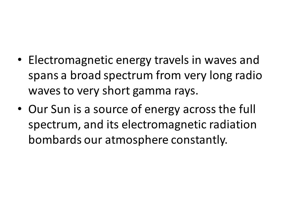 Electromagnetic energy travels in waves and spans a broad spectrum from very long radio waves to very short gamma rays.