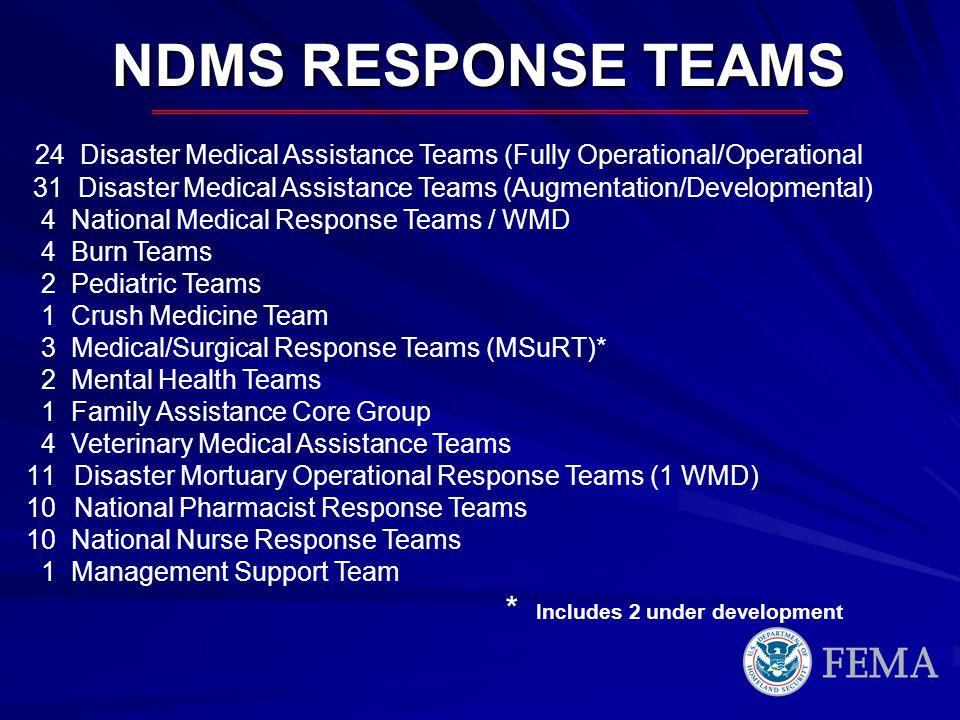 24 Disaster Medical Assistance Teams (Fully Operational/Operational 31 Disaster Medical Assistance Teams (Augmentation/Developmental) 4 National Medic