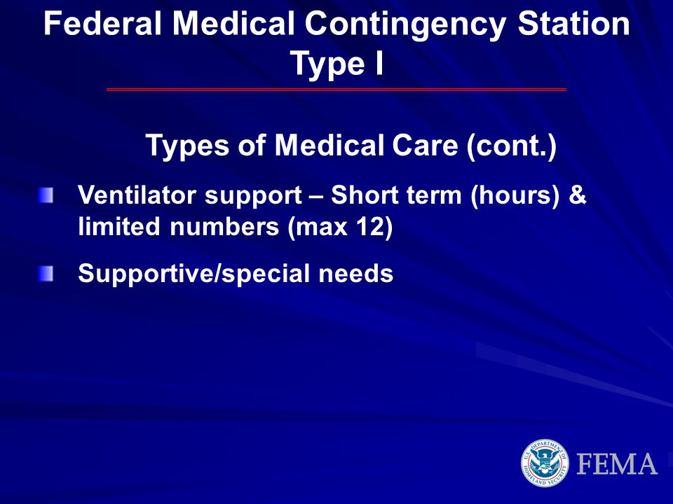 Types of Medical Care (cont.) Ventilator support – Short term (hours) & limited numbers (max 12) Supportive/special needs Federal Medical Contingency Station Type I