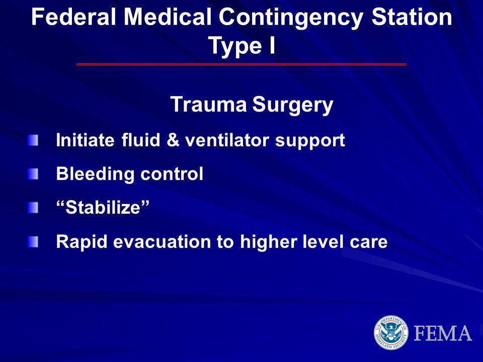 Trauma Surgery Initiate fluid & ventilator support Bleeding control Stabilize Rapid evacuation to higher level care Federal Medical Contingency Statio