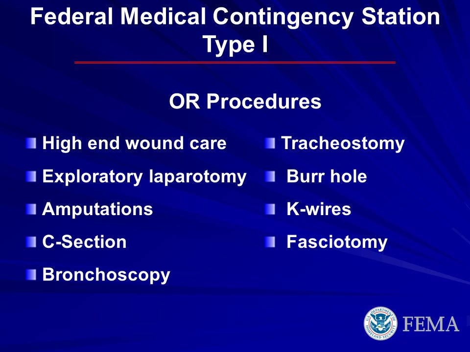 OR Procedures Federal Medical Contingency Station Type I High end wound care Exploratory laparotomy Amputations C-Section Bronchoscopy Tracheostomy Bu