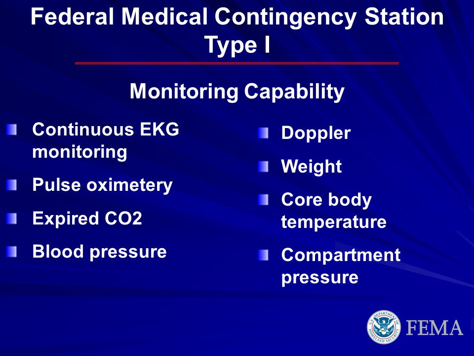 Federal Medical Contingency Station Type I Continuous EKG monitoring Pulse oximetery Expired CO2 Blood pressure Doppler Weight Core body temperature Compartment pressure Monitoring Capability