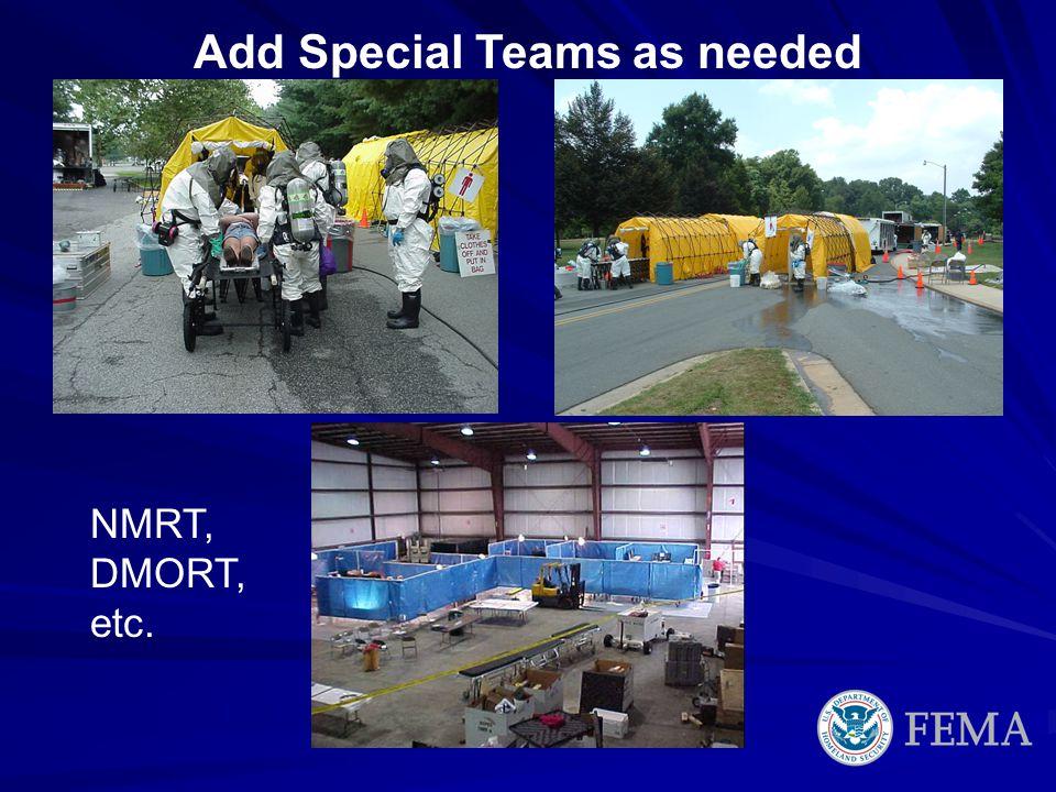 Add Special Teams as needed NMRT, DMORT, etc.