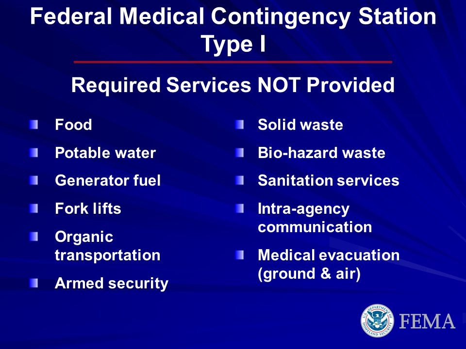 Required Services NOT Provided Food Potable water Generator fuel Fork lifts Organic transportation Armed security Solid waste Bio-hazard waste Sanitation services Intra-agency communication Medical evacuation (ground & air) Federal Medical Contingency Station Type I