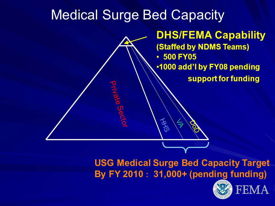 USG Medical Surge Bed Capacity Target By FY 2010 : 31,000+ (pending funding) DHS/FEMA Capability (Staffed by NDMS Teams) 500 FY05 1000 addl by FY08 pe