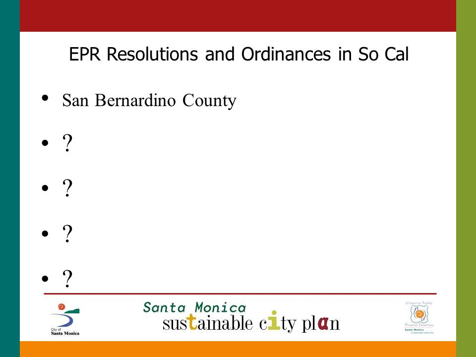San Bernardino County EPR Resolutions and Ordinances in So Cal