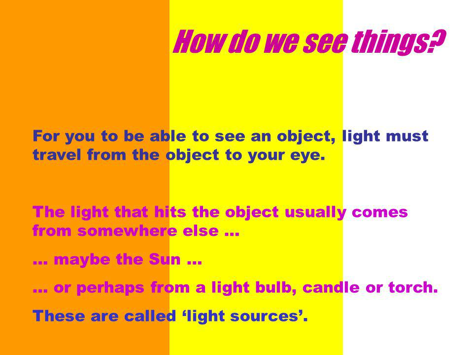 This is also the reason why shadows occur when something gets in the way of the light.