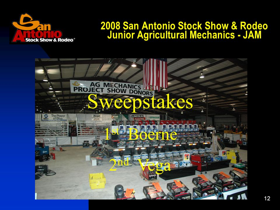 San Antonio Stock Show & Rodeo Junior Agricultural Mechanics - JAM Sweepstakes 1 st Boerne 2 nd Vega