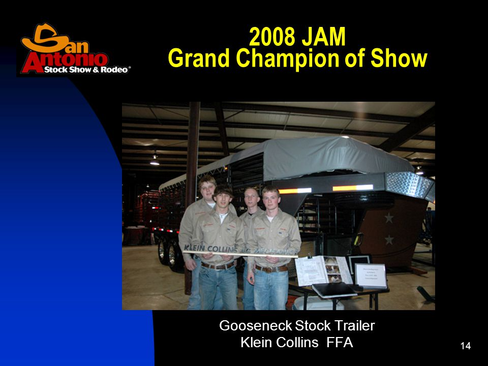 JAM Grand Champion of Show Gooseneck Stock Trailer Klein Collins FFA