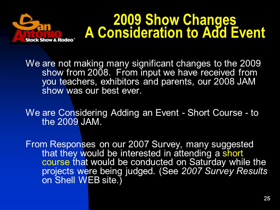 Show Changes A Consideration to Add Event We are not making many significant changes to the 2009 show from 2008.