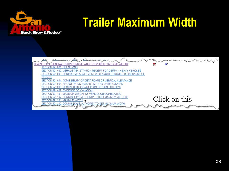 38 Click on this Trailer Maximum Width