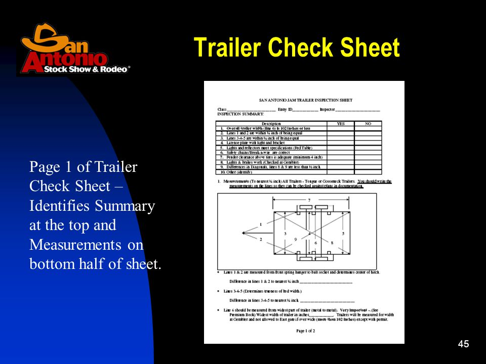 45 Trailer Check Sheet Page 1 of Trailer Check Sheet – Identifies Summary at the top and Measurements on bottom half of sheet.