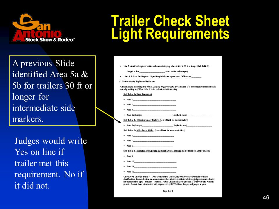46 Trailer Check Sheet Light Requirements A previous Slide identified Area 5a & 5b for trailers 30 ft or longer for intermediate side markers.