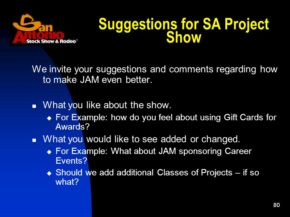 80 Suggestions for SA Project Show We invite your suggestions and comments regarding how to make JAM even better.