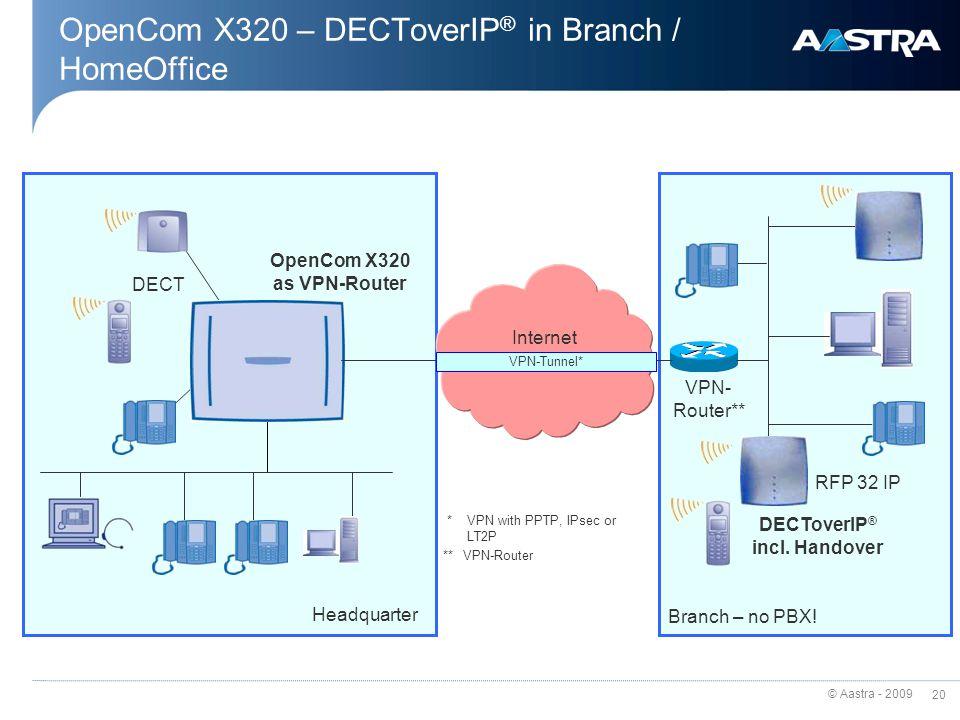 © Aastra - 2009 19 OpenCom X320 – Q.SIG over IP Netzwerk Internet S0S0 VPN-Tunnel* Site 1 - Berlin * VPN with PPTP, IPsec and LT2P DECT Site 2 - Tokio S0S0 Q.SIP over IP System