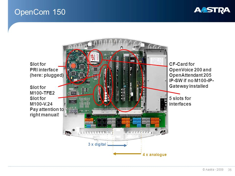 © Aastra - 2009 34 OpenCom 150 - more flexible Most flexible member of OpenCom 100 family - Portfolio completion in high end segment No ports on board