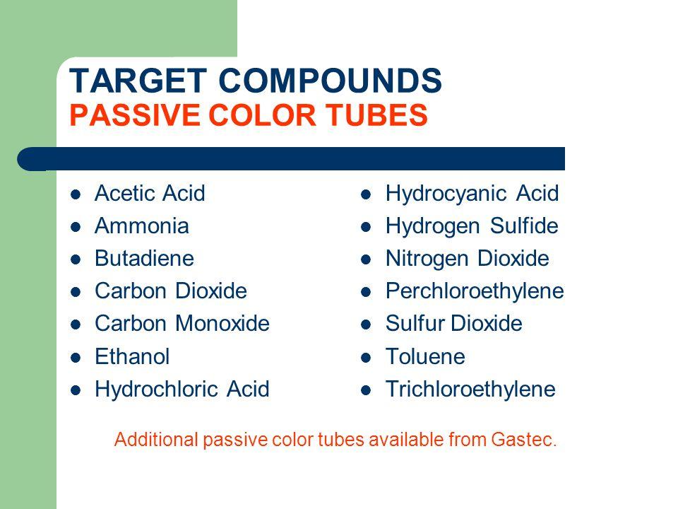 TARGET COMPOUNDS PASSIVE COLOR TUBES Acetic Acid Ammonia Butadiene Carbon Dioxide Carbon Monoxide Ethanol Hydrochloric Acid Hydrocyanic Acid Hydrogen