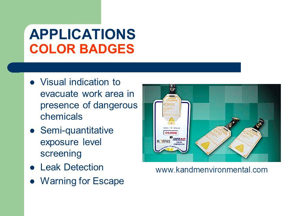 APPLICATIONS COLOR BADGES Visual indication to evacuate work area in presence of dangerous chemicals Semi-quantitative exposure level screening Leak D
