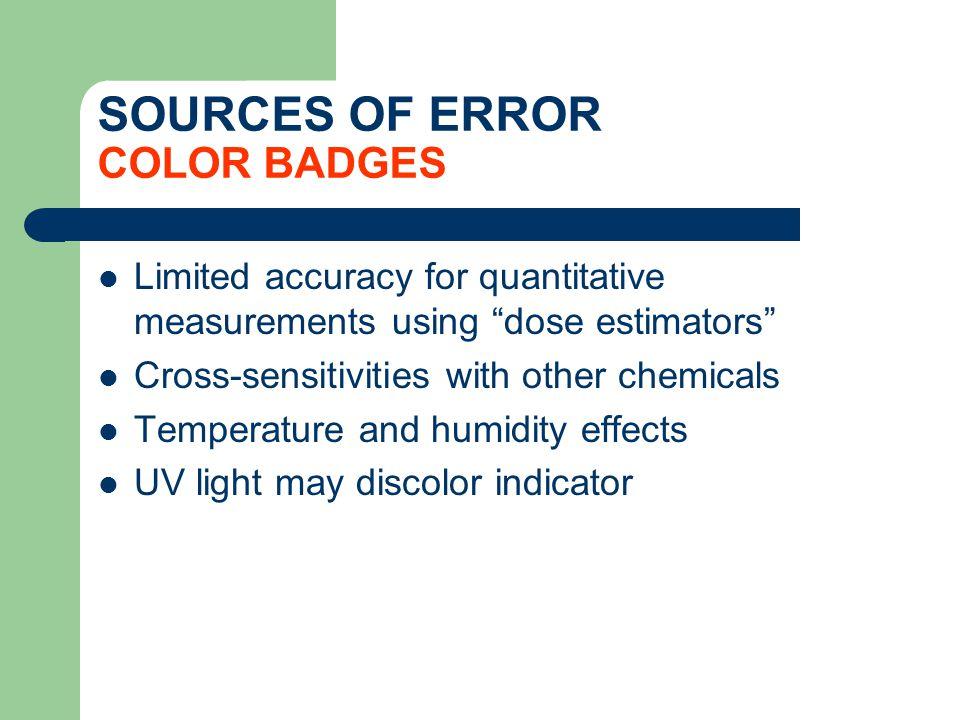 SOURCES OF ERROR COLOR BADGES Limited accuracy for quantitative measurements using dose estimators Cross-sensitivities with other chemicals Temperatur