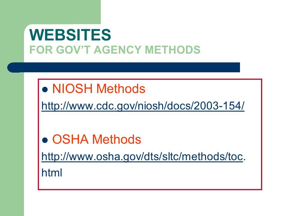 WEBSITES FOR GOVT AGENCY METHODS NIOSH Methods http://www.cdc.gov/niosh/docs/2003-154/ OSHA Methods http://www.osha.gov/dts/sltc/methods/tochttp://www