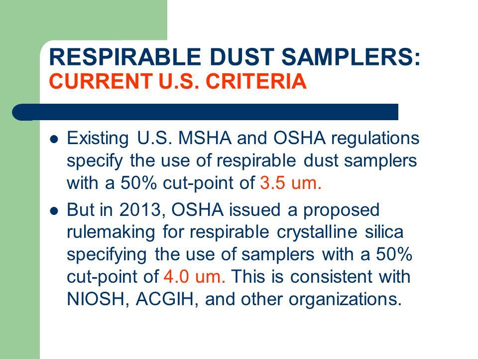 RESPIRABLE DUST SAMPLERS: CURRENT U.S. CRITERIA Existing U.S. MSHA and OSHA regulations specify the use of respirable dust samplers with a 50% cut-poi