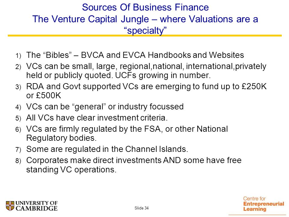 Slide 33 The Early Stage Business Balance – what do investors look for and see.