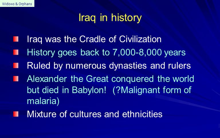Iraq in: 1. Ancient history 2. Middle ages 3. Recent times