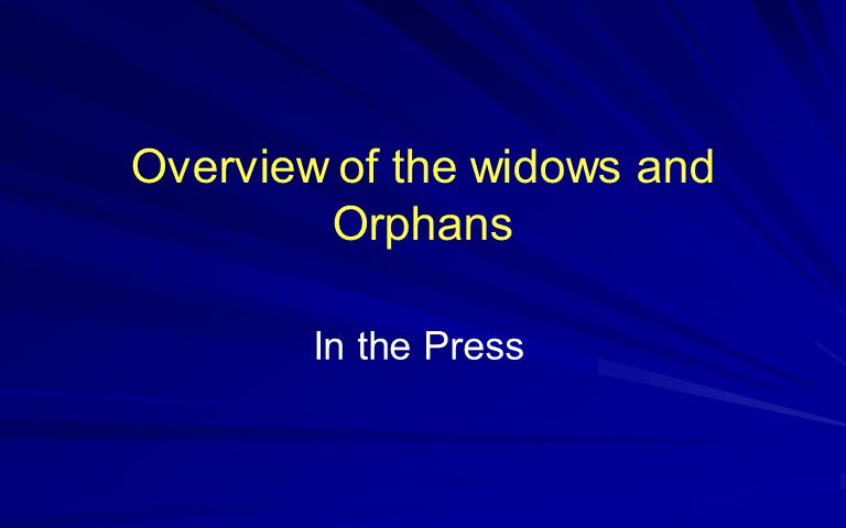 Widows & Orphans Subjects Discussed in the Slide Show Statistical Experience of the last few years 2005-2009 The Technique of Reaching out to help the widows Desperate Condition of most Widows and Orphans Subjects Discussed Widows and orphans, then Brief introduction to Iraq The insurgency and the devastation