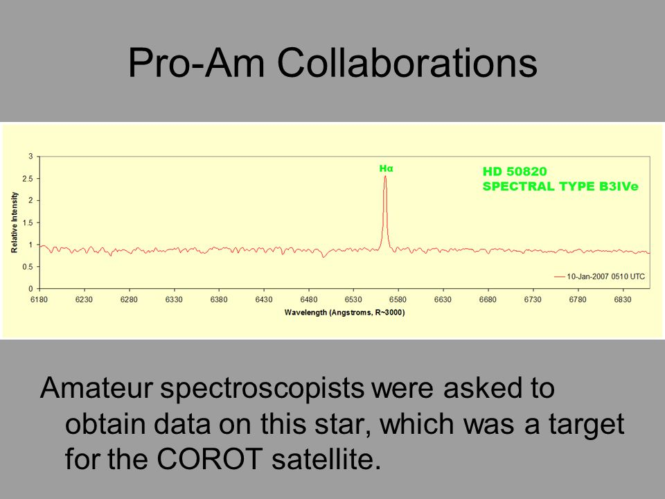 Pro-Am Collaborations Amateur spectroscopists were asked to obtain data on this star, which was a target for the COROT satellite.