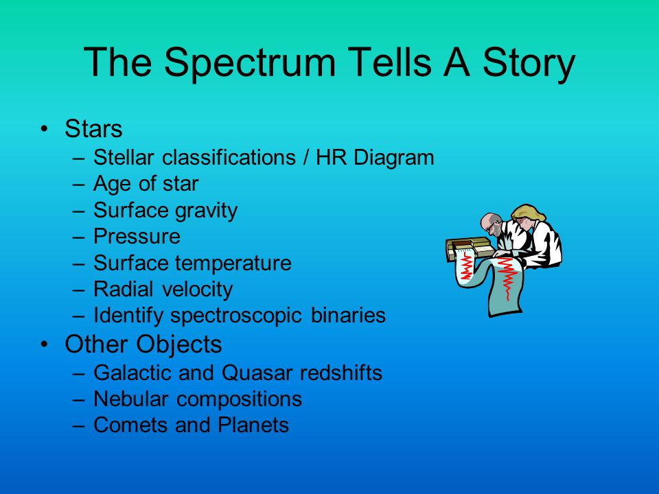 The Spectrum Tells A Story Stars –Stellar classifications / HR Diagram –Age of star –Surface gravity –Pressure –Surface temperature –Radial velocity –Identify spectroscopic binaries Other Objects –Galactic and Quasar redshifts –Nebular compositions –Comets and Planets